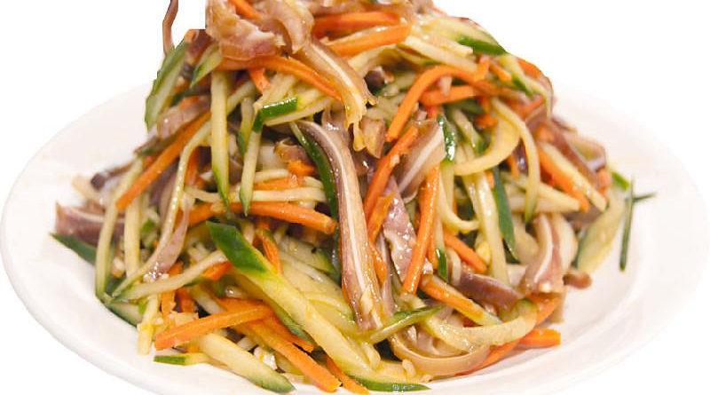 Острый салат со свининой по-корейски