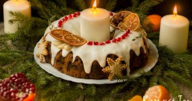 Рождественский кекс по-английски с глазурью