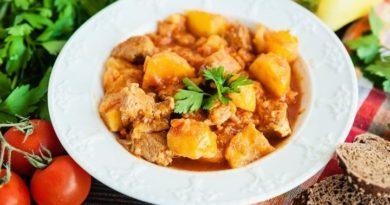 Ушное - мясное жаркое с картофелем по-русски