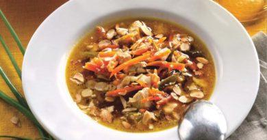 Миндальный суп с цыплёнком по-индийски