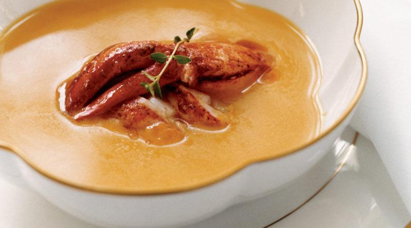 Тыквенный суп с лангустом