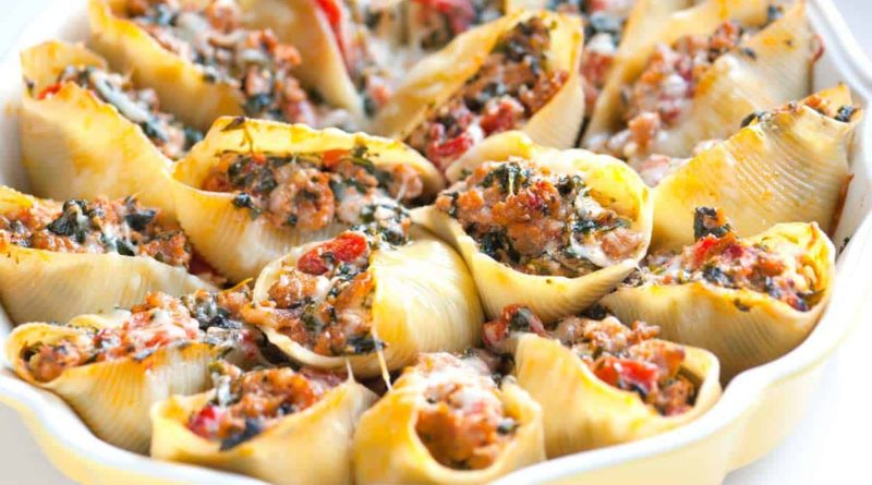 Конкильони с мясом и грибами по-итальянски