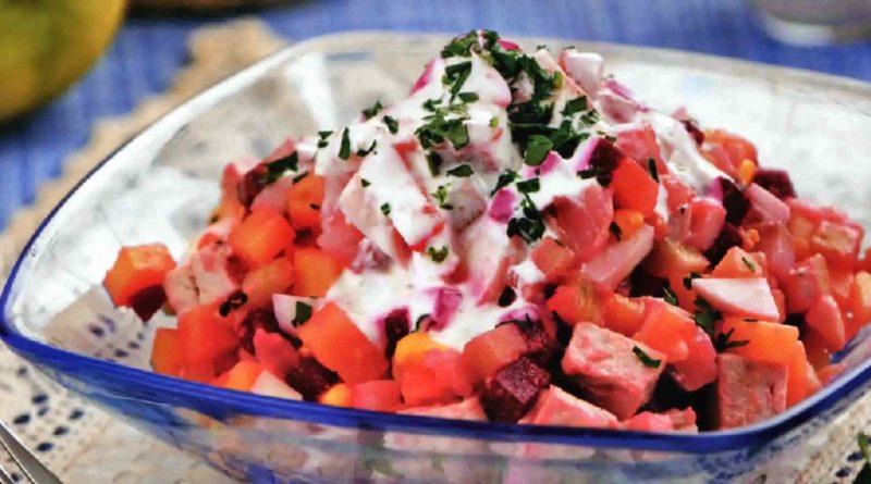 Расолс - Латышский салат из отварной свинины с овощами