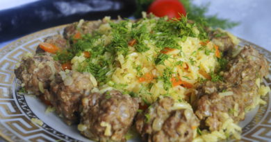 Гелак пилав - Плов с мясными фрикадельками по-таджикски