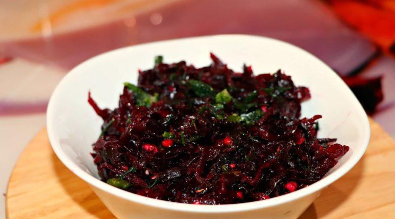 Тёплый салат из свёклы с черносливом и нерафинированным подсолнечным маслом